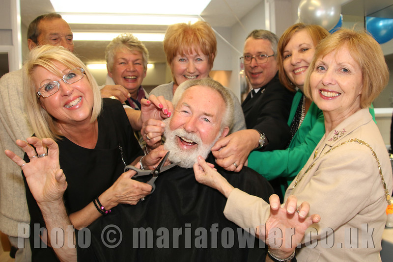 'Mayor Dave's Charity Beard Shave' at 'Salons 2' Dovercourt.The Mayor of Harwich Cllr Dave McLeod has beard shaved for charity, in aid of the Mayoress' Appeal Fund.