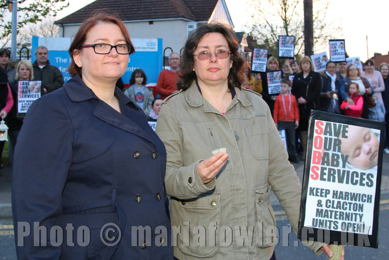 Protest organisers Helen Gardner and Jenny Semple outside the Harwich Fryatt Hospital at the 'Twilight vigil' protest against the temporary closure of the Harwich and Clacton maternity units and services.