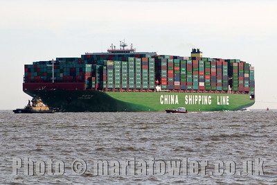 CSCL Globe MO:  9695121MMSI:  477712400Call Sign:  VRNU2Flag:  Hong Kong (HK)AIS Type:  Cargo - Hazard A (Major)Gross Tonnage:  187541Deadweight:  184605 tLength × Breadth:  400m × 58mYear Built:  2014