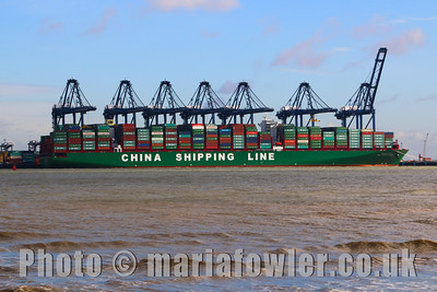 Maiden voyage, first call, CSCL Pacific Ocean at the Port of Felixstowe, UK.IMO:  9695133MMSI:  477712800Call Sign:  VRNV5Flag:  Hong Kong (HK)AIS Type:  Cargo - Hazard A (Major)Gross Tonnage:  187541Deadweight:  184605 tLength × Breadth:  400m × 59mYear Built:  2014